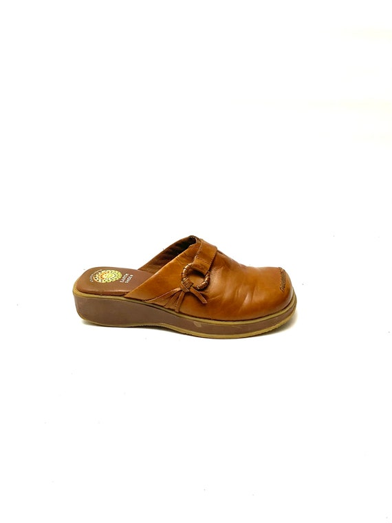 Vintage 1990s Tan Leather Clogs // Slip On Wedge … - image 1