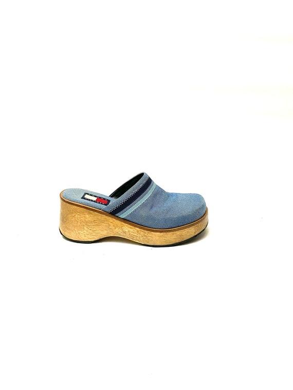Vintage 1990s Denim Wooden Clogs // Blue Platform… - image 1
