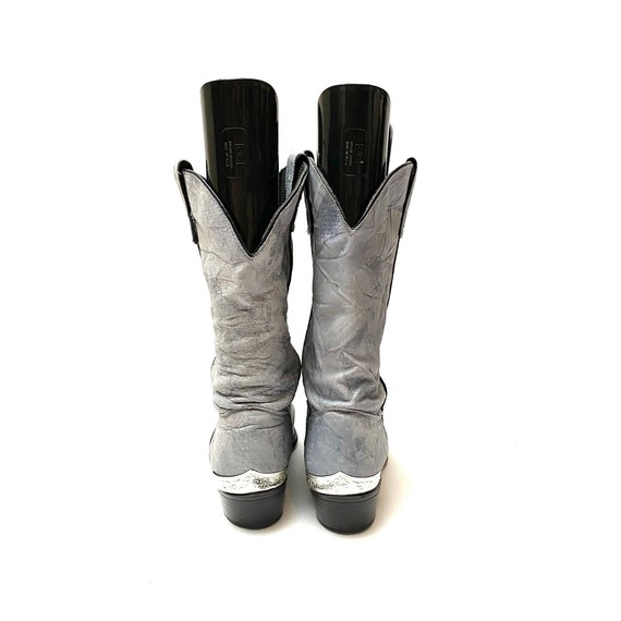 Vintage 1980s Slouchy Boots // Gray Leather Mid C… - image 6