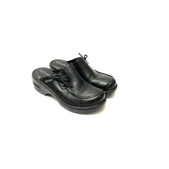Vintage 1990s Slip On Mules // Black Leather Lace… - image 6