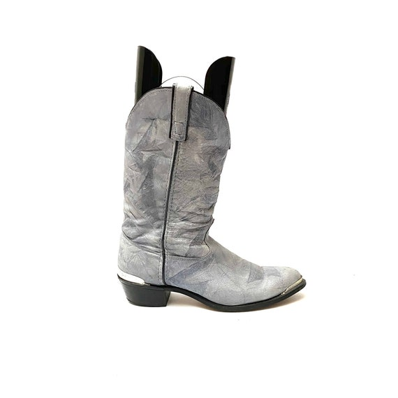 Vintage 1980s Slouchy Boots // Gray Leather Mid C… - image 2