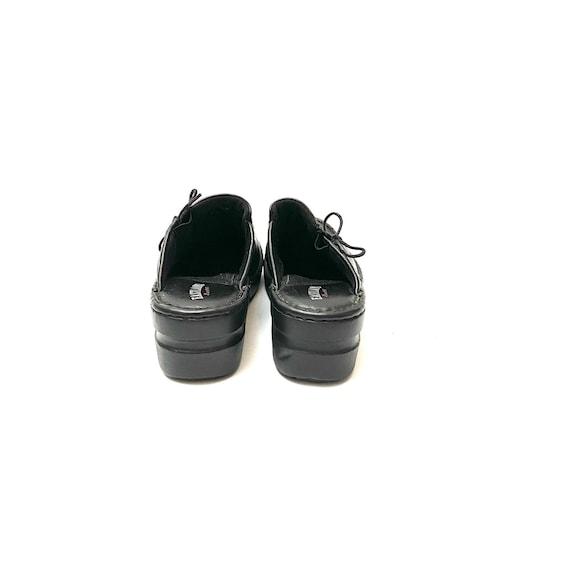 Vintage 1990s Slip On Mules // Black Leather Lace… - image 8