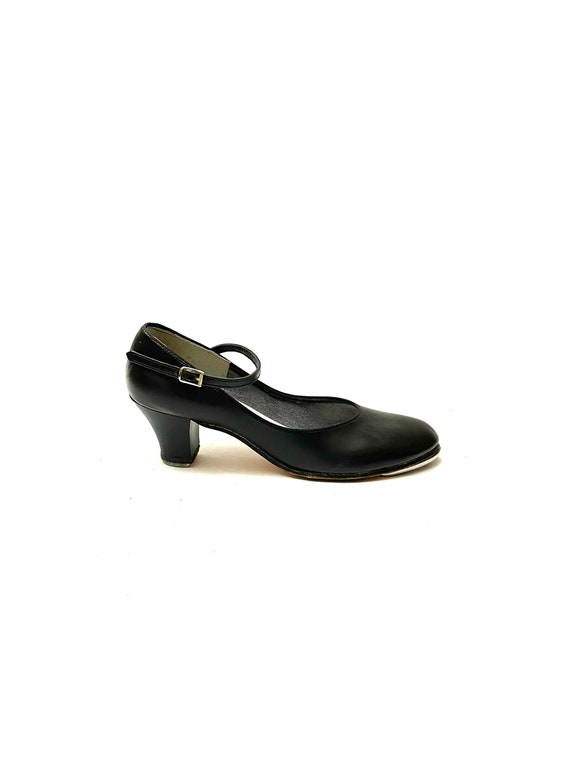 Vintage 1970s Mary Jane Tap Shoes // Black Leather