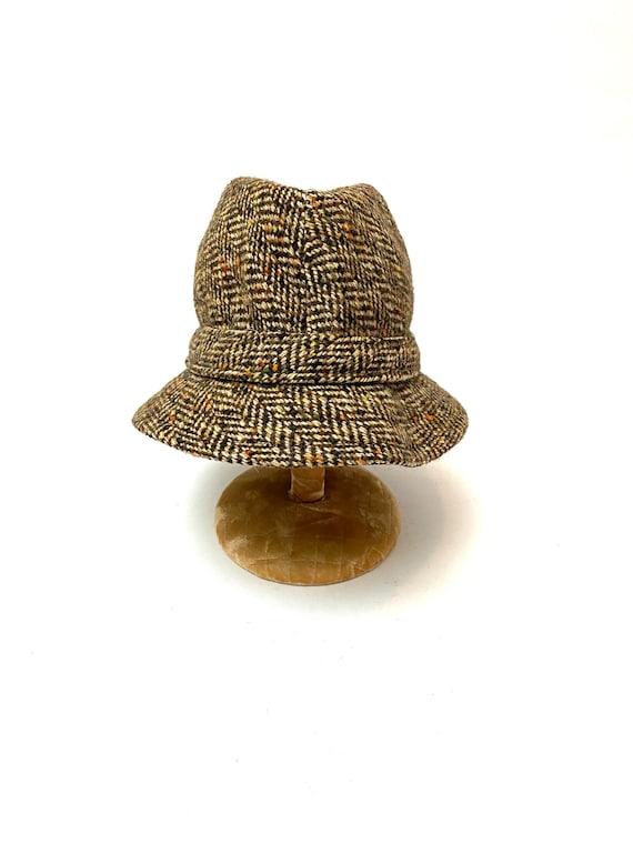 Vintage 1970s Unisex Halston Hat // Wool Tweed Be… - image 7