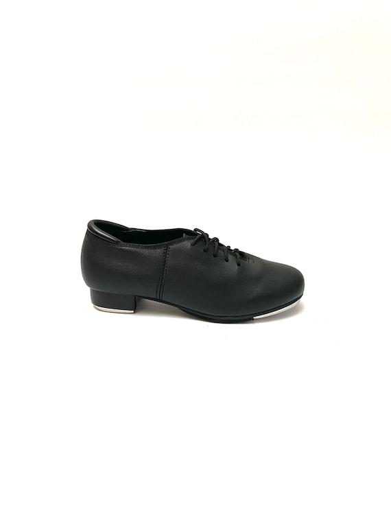Vintage 1970s Vegan Tap Shoes // Black Lace Up Oxf