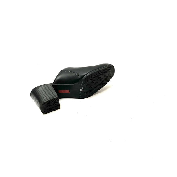 Vintage 1990s Mules // Black Leather Slip On Back… - image 8