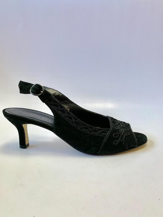Vintage 1990s Slingback Heels // Black Vegan Kitte