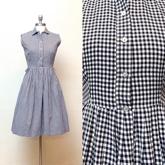 Vintage 1950s Gingham Day Dress // Black and White