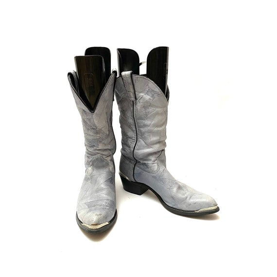 Vintage 1980s Slouchy Boots // Gray Leather Mid C… - image 3