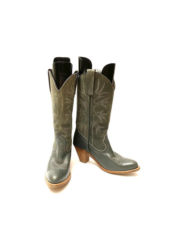 Vintage 1980s Frye Cowboy Boots // Gray Leather W… - image 3