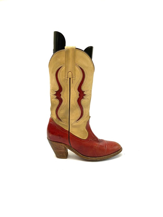 Vintage 1980s Frye Boots // Red Leather Cutout Wes