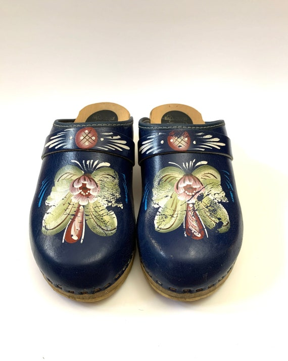 Vintage 1970s Swedish Clogs // Floral Hand Painted