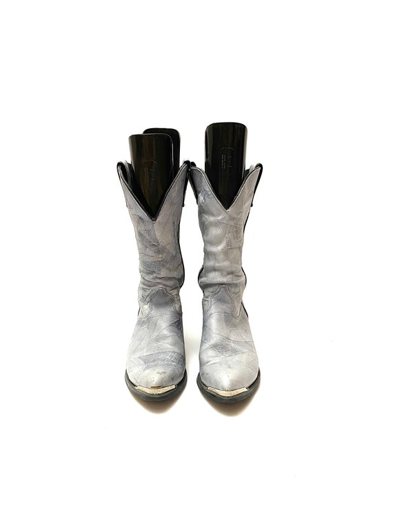 Vintage 1980s Slouchy Boots // Gray Leather Mid Ca