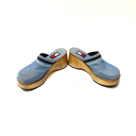 Vintage 1990s Denim Wooden Clogs // Blue Platform… - image 5