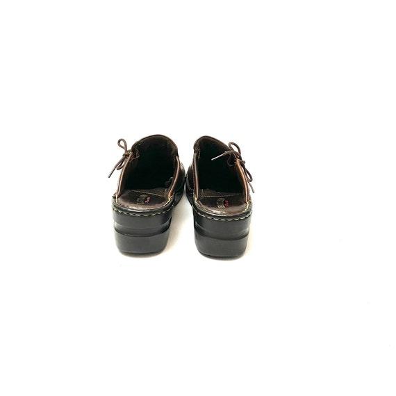 Vintage 1990s Slip On Mules // Chunky Brown Leath… - image 8
