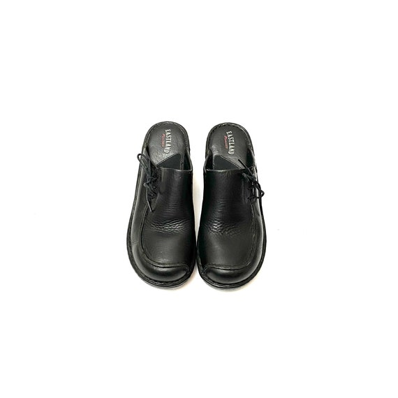 Vintage 1990s Slip On Mules // Black Leather Lace… - image 3