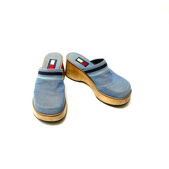 Vintage 1990s Denim Wooden Clogs // Blue Platform… - image 4