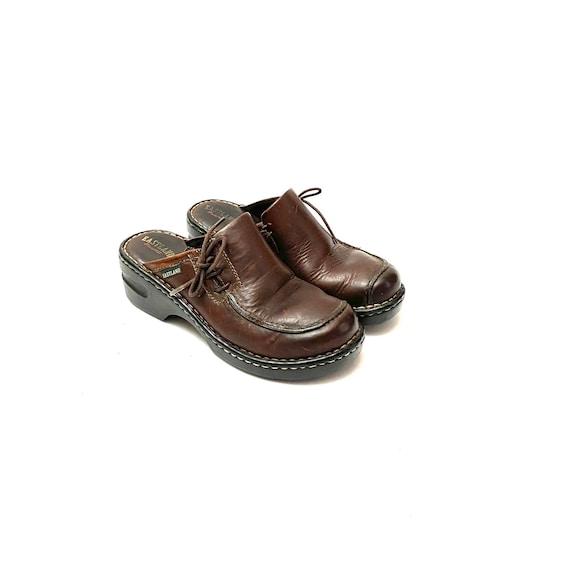 Vintage 1990s Slip On Mules // Chunky Brown Leath… - image 6