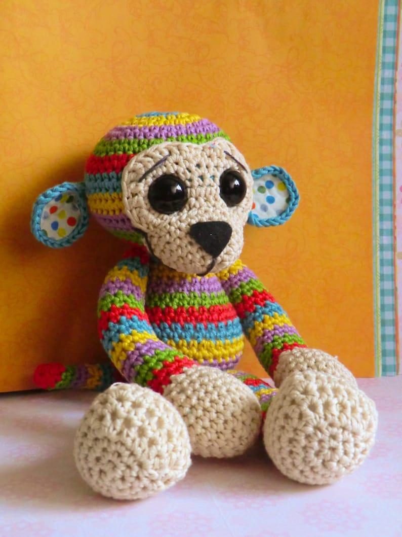 Colourful rainbow stripy monkey amigurumi PDF pattern image 0