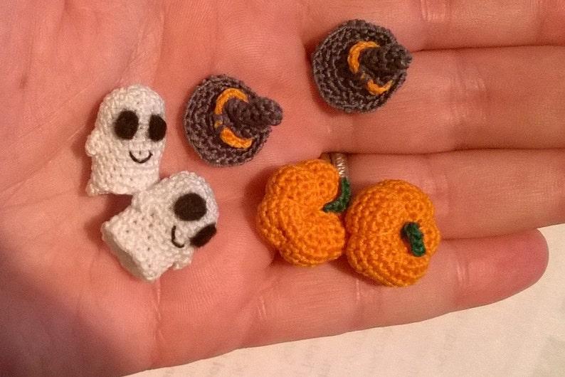 Spooky Micro Crochet Halloween Earring Pdf Pattern Ghosts Etsy