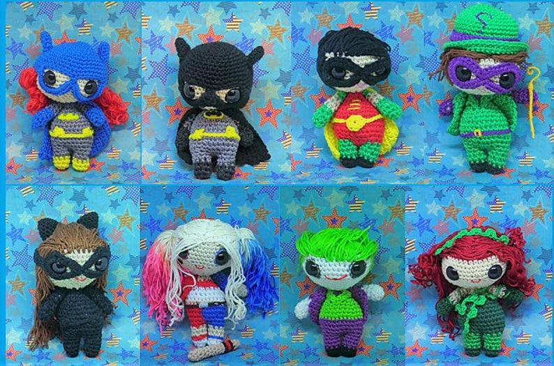Full set Batman amigurumi style PDF  crochet pattern inspired image 0