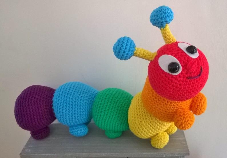 Rainbow caterpillar by Liz Ward amigurumi crochet pattern image 0