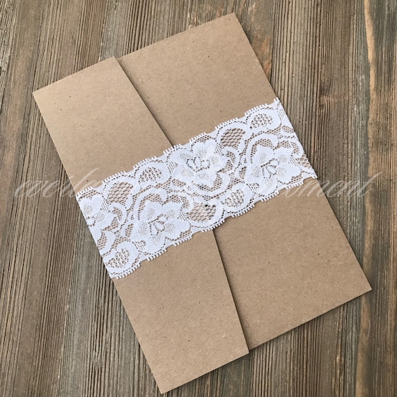 White Lace Belly Band Black Diy Belly Bands 5x7 Invitation Belly Bands Rustic Belly Bands Elastic Lace Belly Band Invitation Band