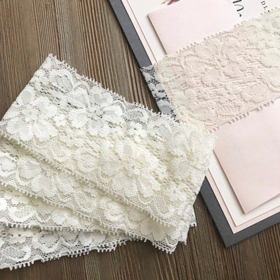 2 Inch Ivory Lace Belly Band White Diy Belly Bands 5x7 Invitation Belly Bands Rustic Belly Bands Elastic Lace Invitation Band