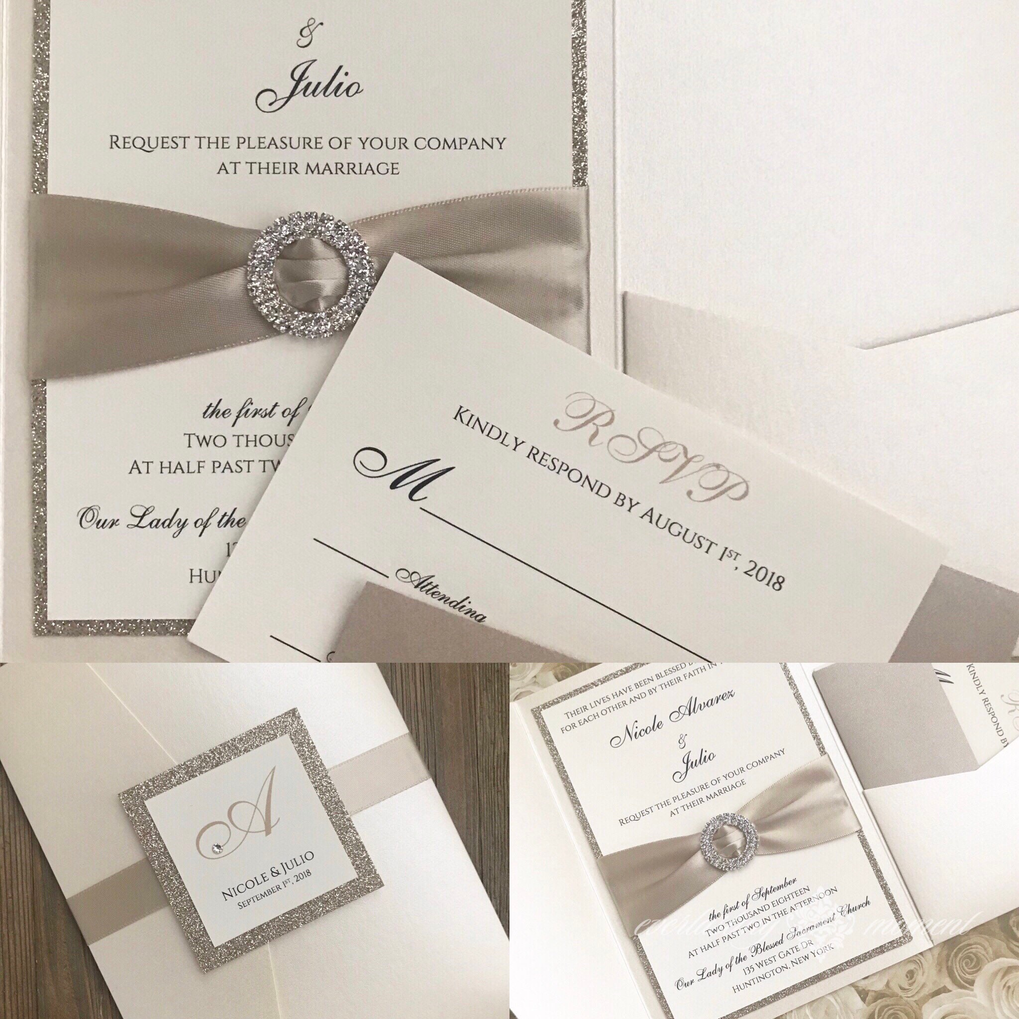 Wedding Invitation Pocket Folders: Rhinestone Pocket Folder Wedding Invitation Elegant