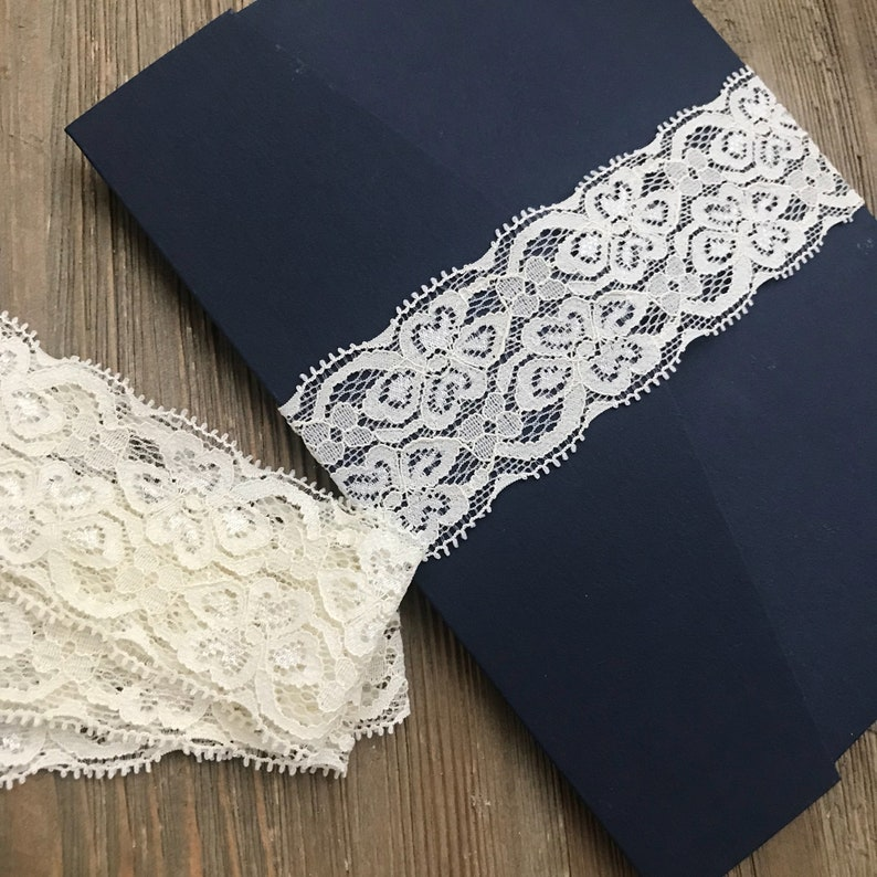Ivory Lace Belly Band Diy Belly Bands 5x7 Invitation Belly Bands Rustic Belly Bands Elastic Lace Belly Band Invitation Band