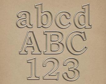 Wire-Rimmed Metal Alpha - Digital Scrapbooking Alphabet INSTANT DOWNLOAD