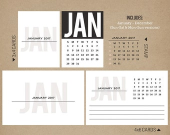 2017 Calendar Cards + Stamps - Digital Printable Journal Cards for Project Life INSTANT DOWNLOAD