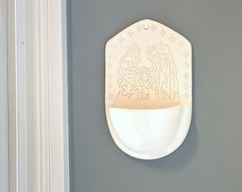 Holy Water Font, Holy Family Holy Water Font, Catholic Home Decor