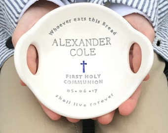 First Communion Gift Boy, Original Clarey Clayworks First Holy Communion Bowl, Personalized Gifts for Boy First Communion