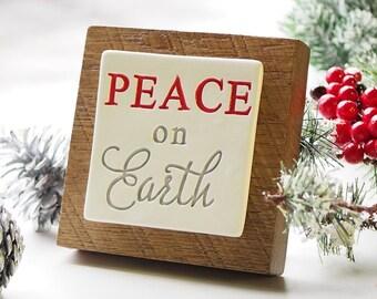 Peace on Earth Christmas Plaque,  Ceramic Tile on Barn Wood, Christmas Decor Gift