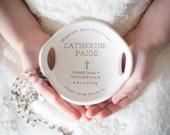 First Communion Gift Girl, Original Clarey Clayworks First Holy Communion Bowl, Personalized Gift for Girl First Communion