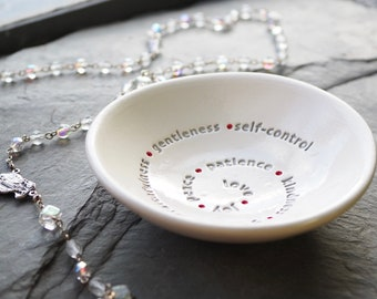 Fruits of the Holy Spirit Bowl, Confirmation Gifts for Boys, Girls Confirmation Gifts, Prayer Bowl, Rosary Bowl
