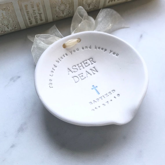 Baptism Gift Boy Christening Gift From Godparent Baptism Bowl For Godson Gift Ideas Boy Baptism Favor Christian Pottery