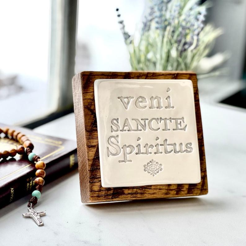 Veni Sancte Spiritus Desk or Wall Plaque Come Holy Spirit image 0