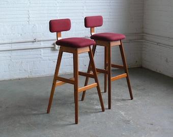 Vintage Danish Teak A/S Vamdrup Stolefabrik Bar Stools (Set of 2)
