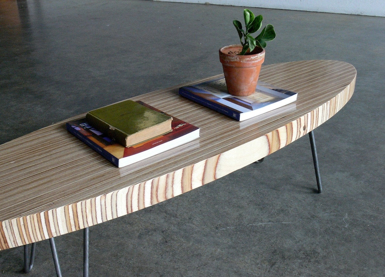 Eames Surfboard Coffee Table.Mid Century Modern Eames Inspired Birch Plywood Surfboard Coffee Table W Hairpin Legs