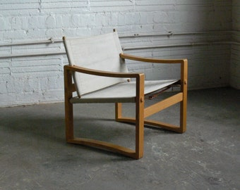 Vintage Danish Safari Sling Chair Attributed to Borge Jensen (2 Available)