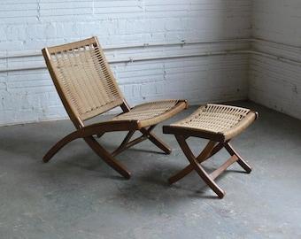 Vintage Hans Wegner Inspired Walnut Folding Lounge Chair with Ottoman