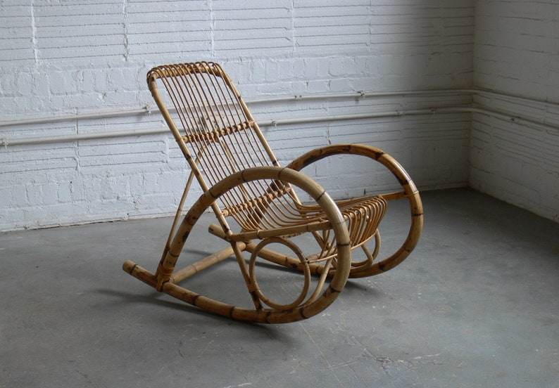Groovy Mid Century Franco Albini Style Rattan Rocking Chair Gmtry Best Dining Table And Chair Ideas Images Gmtryco