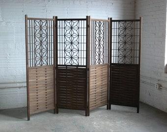 Mid Century Hand Craved Decorative Teak 4-Panel Folding Screen // Room Divider