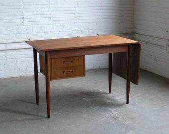 Danish Walnut & Teak Drop Leaf Writing Desk Attributed to Arne Vodder