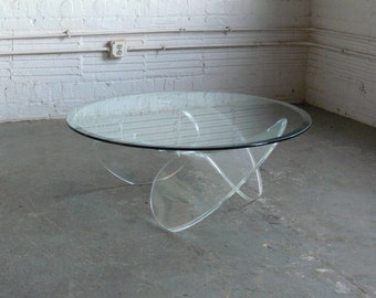 Modernist Lucite Propeller Coffee Table Attributed to Knut Hesterburg