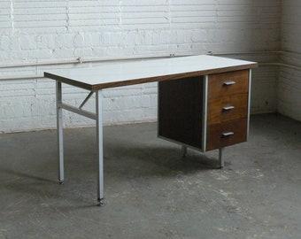 Mid Century Modern George Nelson Styled Steel Frame Desk