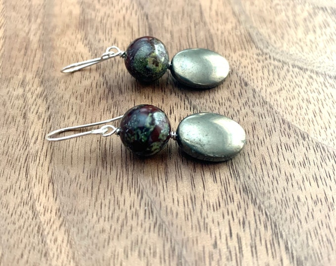 Jasper & Pyrite Earrings