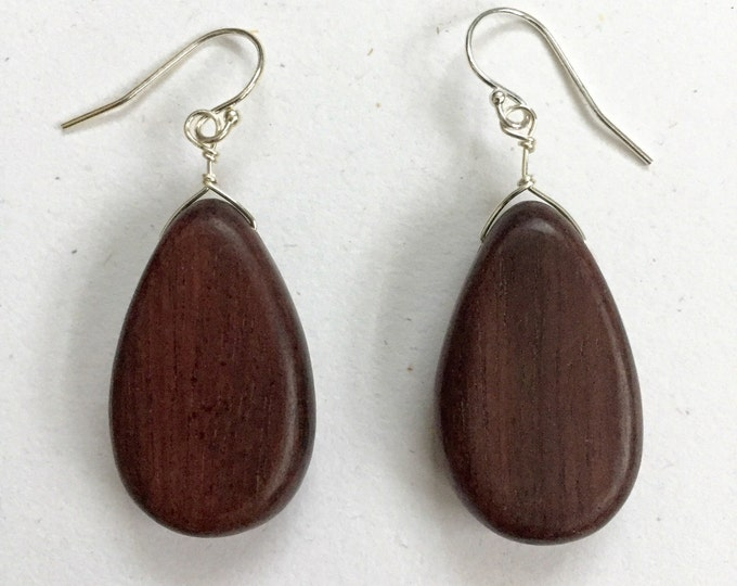 Tiger Ebony Teardrop Earrings